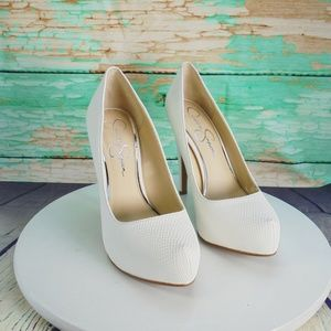 Jessica Simpson Parisah White Rumba Snake Pumps